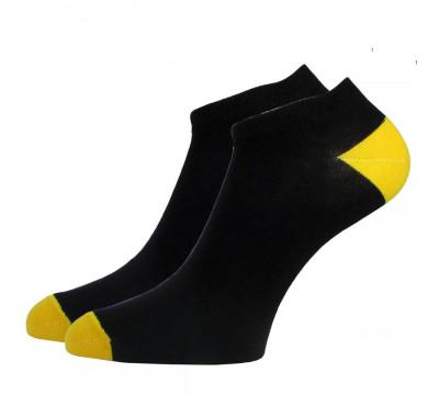 Носки черные женские укороченные с цветной пяткой