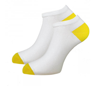 Носки белые женские укороченные с цветной пяткой